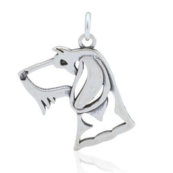 Sterling Silver Wire-haired Dachshund Pendant, Head - DealsBlast.com