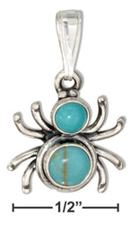 Sterling Silver Widow Spider With Simulated Turquoise Conchos Pendant - DealsBlast.com