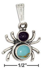 Sterling Silver Widow Spider With Amethyst & Simulated Turquoise Conchos Pendant - DealsBlast.com