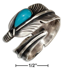 Sterling Silver Adjustable Wrap Feather Ring With Reconstituted Turquoise Teardrop