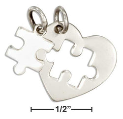 Sterling Silver Two Piece Heart With Cutout And Puzzle Piece Autism Charm Set - DealsBlast.com