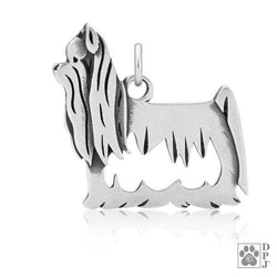 Sterling Silver Yorkie Yorkshire Terrier Pendant With Show Cut Body - DealsBlast.com