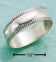 Sterling Silver 5mm Wedding Band Ring With Coin Edge - DealsBlast.com