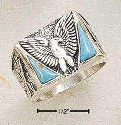 Sterling Silver Men's Reconstituted Turquoise Eagle Ring - DealsBlast.com
