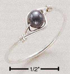 Sterling Silver Hematite Bead Wire Ring - DealsBlast.com