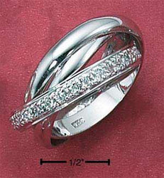 Sterling Silver Womens 3mm Three Band Cubic Zirconia Slide Ring - DealsBlast.com