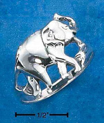 Sterling Silver Elephant With Trunk Up Ring - DealsBlast.com