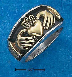 Sterling Silver Unisex Bronze Claddagh Heart In Hands Band Ring - DealsBlast.com