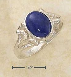 Sterling Silver Floral Oval Reconstituted Blue Stone Ring - DealsBlast.com