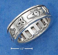 Sterling Silver Worry Ring With Irish Symbols Spinning Band - DealsBlast.com