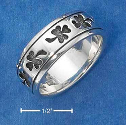 Sterling Silver Shamrock Band Ring With Antiqued Finish - DealsBlast.com
