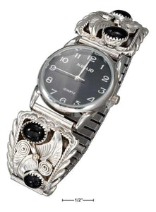 Sterling Silver Mens Southwest Watch With Onyx Nuggets