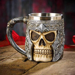 Double Wall Stainless Steel 3D Skull Mugs Coffee Tea Bottle Mug Knight Tankard Dragon Drinking Wine Goblet