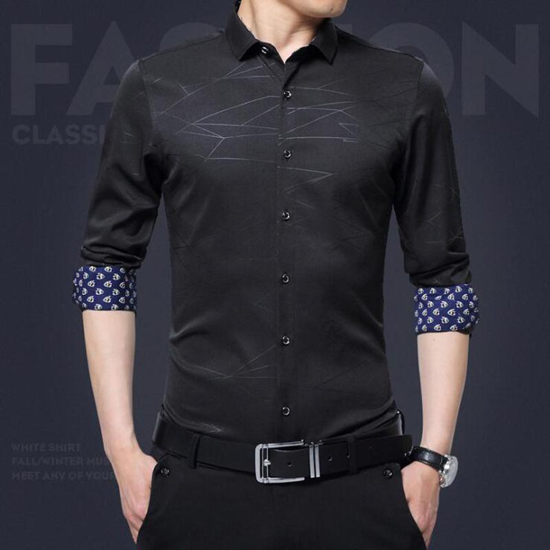 Autumn Shirts Men's Dress Solid Color Casual Long Sleeve Slim - DealsBlast.com