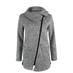 Women Autumn Winter Clothes Warm Fleece Jacket Slant Zipper - DealsBlast.com