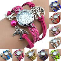 More Colors Vintage Life Tree Birds Charm Leather Plaited Bracelet Watches - DealsBlast.com