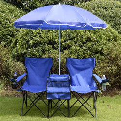 Portable Folding Picnic Set Double Chair+Umbrella+Table Blue Outdoor Furniture Cooler Beach Camping Chair BBQ Seat - DealsBlast.com