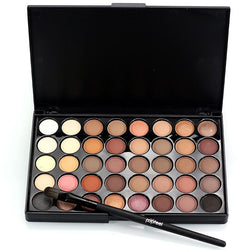Professional 40 colors Warm Color Pigments Make Up Eye Shadow Glitter Matte Waterproof Makeup Eyeshadow Nude Palette with Brush - Deals Blast