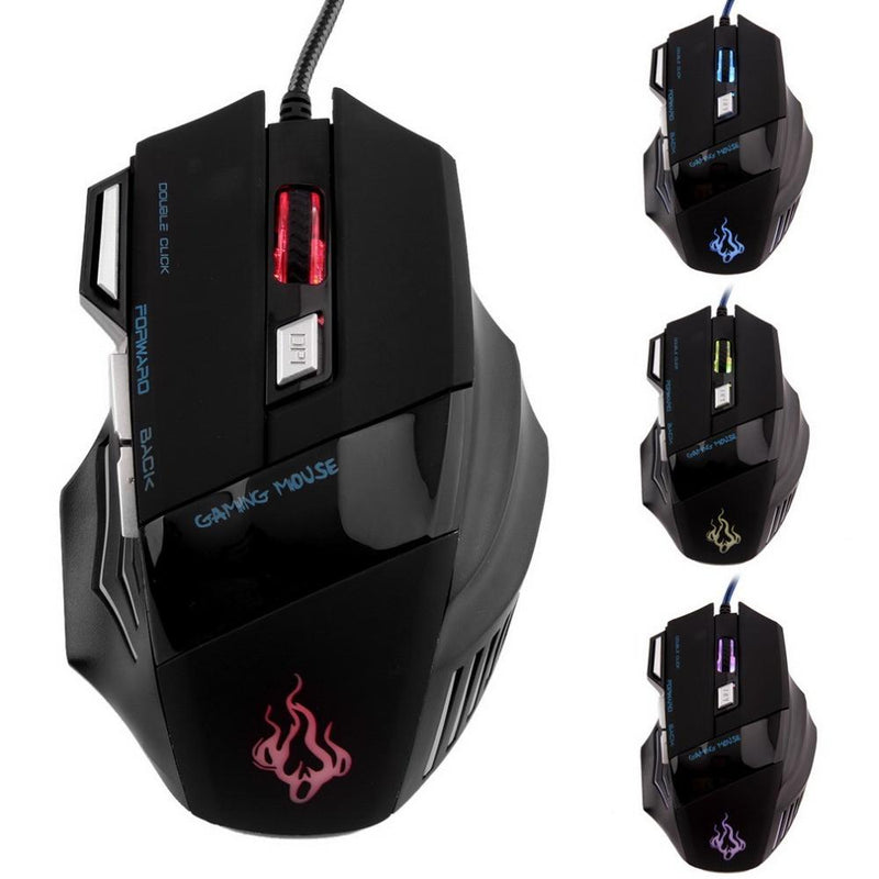Professional 7 Buttons LED USB Optical Wired Gaming Mouse 5500DPI Mice Computer Mouse For Pro Gamer - Deals Blast
