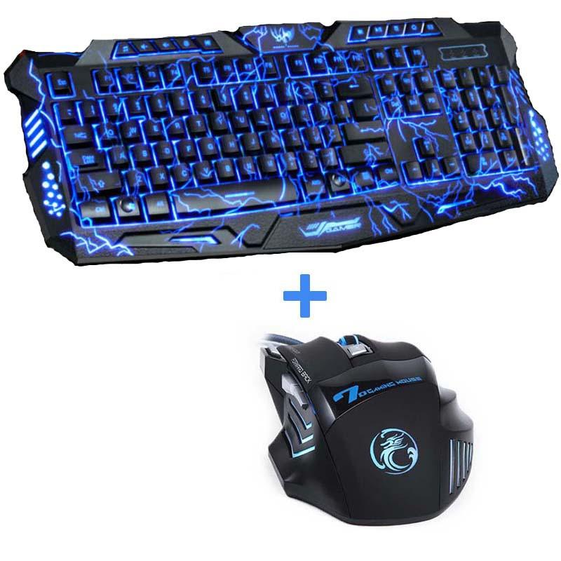 Purple/Blue/Red LED Breathing Backlight Pro Gaming Keyboard Mouse Combos USB Wired Full Key 5500dpi Professional Mouse Keyboard - DealsBlast.com