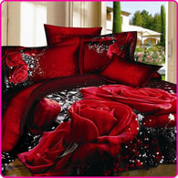 Printed 3D Bed Set Bedding Set Linen Queen Bedclothes Duvet Cover Set Red Black Rose - DealsBlast.com