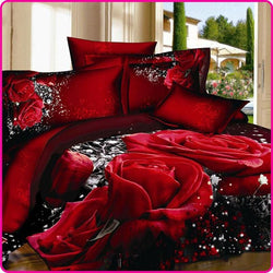 Printed 3D Bed Set Bedding Set Linen Queen Bedclothes Duvet Cover Set Red Black Rose - Deals Blast