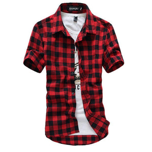 Red And Black Plaid Shirt Men Shirts New Summer Fashion Chemise Homme Mens Checkered Shirts Short Sleeve Shirt Men Blouse - DealsBlast.com