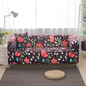 Red Flower Living Room Sofa Elastic Cover - DealsBlast.com