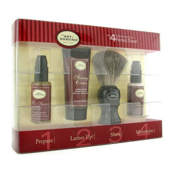 Starter Kit - Sandalwood: Pre Shave Oil + Shaving Cream + Brush + After Shave Balm - 4pcs