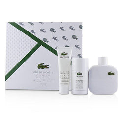 Eau De Lacoste L.12.12 Blanc Coffret: Eau De Toilette Spray 100ml-3.3oz + Deodorant Stick 75ml-2.4oz + Shower Gel 50ml-1.6oz - 3pcs