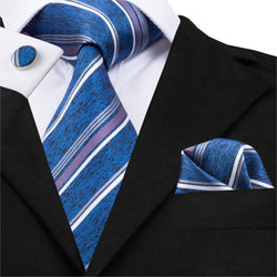 Mens Tie Set Classic Blue Stripe For Men - DealsBlast.com