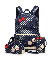 School Bags for Teenagers Girls Schoolbag Large Capacity Ladies Dot Printing School Backpack set Rucksack Bagpack Cute Book Bags - Deals Blast