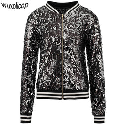 Sparkly Winter Sequin Bomber Jacket Women Casual Long Sleeve Front Zip Up Casual Coat with Ribbed Cuffs Party Concert Costumes - DealsBlast.com