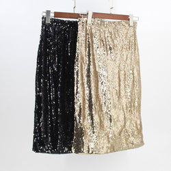81c3ce90e9 Stunning Elastic High Waist Gold Black Women Sequin Pencil Skirt Falda  Mujer Saia Long Sexy Club