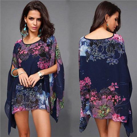 Summer Bathing Suit Cover ups Bikini Swimwear Printed Chiffon Beach Tunic Top Pareo Sexy Swimsuit Beachwear for Women