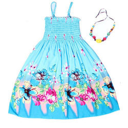 Summer Bohemian Style Girls Dress Floral Shoulderless Beading Necklace Sundress Beach Dress