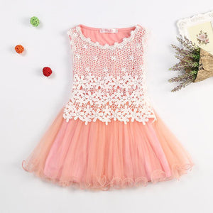 Lace Flowers Girls Dresses High Quality Child's Wear Toddler TuTu Girls Dresses - DealsBlast.com