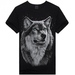 Summer T-shirt Men 3D Print Wolf Short Sleeve T Shirts Casual Brand Men Cotton Shirt Men Clothes Tops - DealsBlast.com