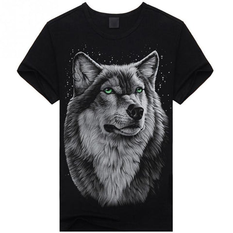 Summer T-shirt Men 3D Print Wolf Short Sleeve T Shirts Casual Brand Men Cotton Shirt Men Clothes Tops