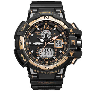 Super Gold Sport G Style Clock Male LED Analog Wrist Watch Men