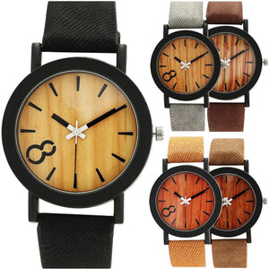 Superior Women's Men's Neutral Simple Fashion Leather Quartz Wooden Wrist Watch Unisex relogio