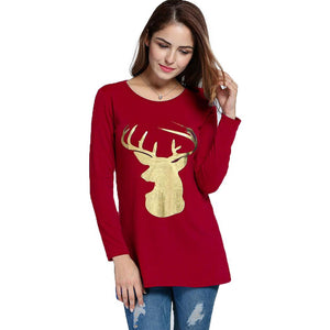 Long Sleeve Women T-shirt Top Christmas Female Clothes Sweatshirt - DealsBlast.com