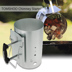 Charcoal Chimney Starter BBQ Barbecue Smoker Grill Fire Handle Camp BBQ Chimney Stove Charcoal Lighter Coal Starter - DealsBlast.com
