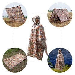 Multifunctional Rain Poncho Cover with Hood Hiking Cycling Rain Cover Poncho Coat Outdoor Tool Camping Tent Mat - DealsBlast.com