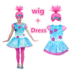 Poppy Dress For Girls Halloween Clothes Kids with or without Wig - Deals Blast