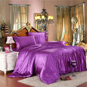 Twin/Full/Queen/King Silk Bedding Quilt/Duvet Cover Sets,Wine Red(Gold,Silver) Satin Silk Bedding Sets - DealsBlast.com