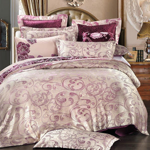 Luxury Jacquard Satin comforter cover queen size 4 Silk bedclothes duvet covers bed linen bedding set home textile - Deals Blast
