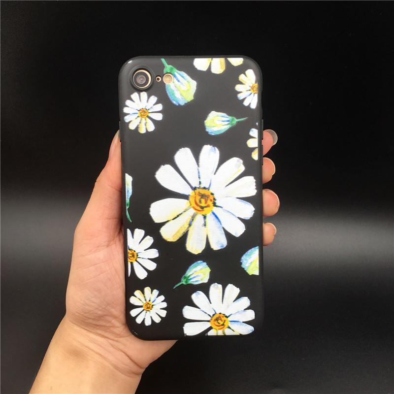 Vintage Rose Flower Daisy Silicone Case for iPhone 7 6s Case Soft Silicon Phone Cases Back Cover For iPhone 7 6 6s Plus coque