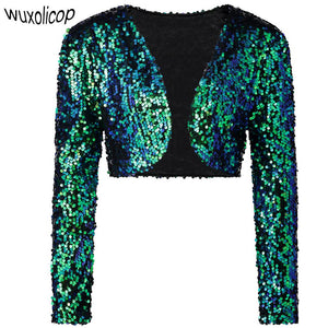 Vintage Women Cropped Blazer Bolero Shrug Clubwear Party Costumes Shiny Sequin V-Neck Short Vest Sexy Cardigan Jacket Coat - DealsBlast.com