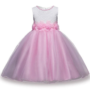 White & Pink 2 Summer Flower Kids Party Dresses For Weddings - DealsBlast.com